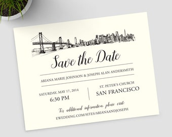San Francisco skyline save the date; SAMPLE ONLY