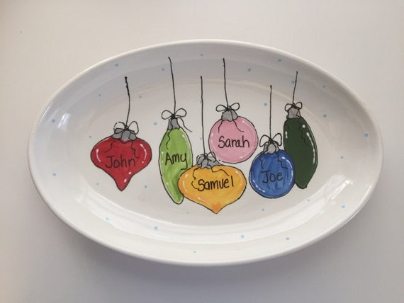 Hand painted, Personalized, Christmas Ornament platter, Grandparents platter, Family platter, name platter, christmas platter, personalized