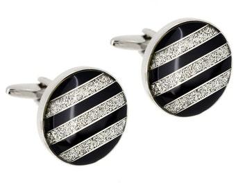 Black And White Sparkles Stripes Cufflinks 1200499