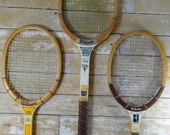 Vintage Tennis Rackets Wooden Chris Evert Rackets Set of 3
