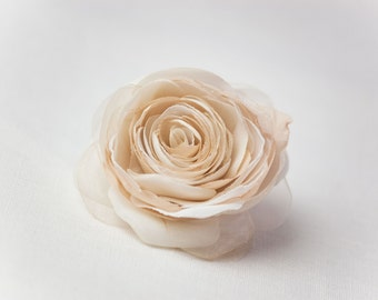 Champagne Wedding Hair Flower, Beige Rose Hair Clip, Rustic Wedding Hairpiece, Bridesmaid Hair Flower, Bridal Hair Accessories