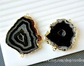 Druzy connector Geode connector pendant Drusy 24k Gold plated Edge Drusy agate in Black color, gemstone JSP-5987