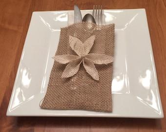 Christmas Table Decor, Burlap Silverware Envelope, Rustic Shabby Chic Holiday Decor