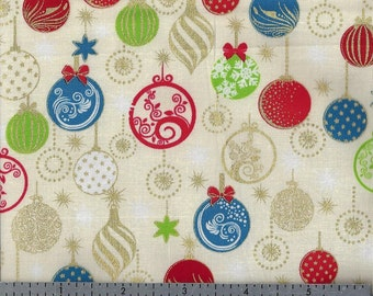Cotton Fabric - Christmas Ornaments on Cream - Enchanted Christmas by Exclusively Quilters - by the Yard