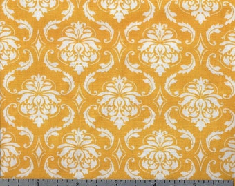 Cotton Fabric - Yellow Gold Damask Print - by the Yard