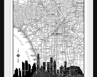 Los Angeles  Map -  Los Angeles Skyline - Print Poster - Vintage - Black and White