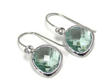 Gift Light green earrings Prasiolite earrings Silver dangle earrings Green earrings Green dangle earrings Bridesmaid earrings Bridal earring
