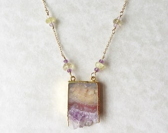 Amethyst and Rolled Gold Necklace With Yellow Gemstones
