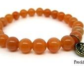 Wrist Mala Bracelet - Red Aventurine with Copper Om Charm, Yoga Beads, Spiritual Jewellery