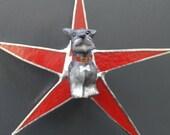 Scotty Star- 9 inch glass star with glass scotty dog ornament center