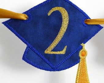 Graduation Cap Banner ITH Project Applique Machine Embroidery Design Patterns all done in the hoop 2 variations