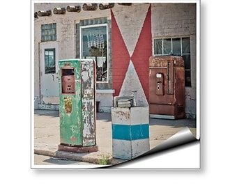 Wall Mural Art Decal Midway Station Rt. 66 Adrian Texas Retro Gas Pumps