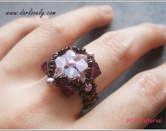 Ring Pattern Tutorial - Purple Rose Pearl Flower Ring (RG118) - Beading Jewelry PDF Tutorial (Digital Downloads)