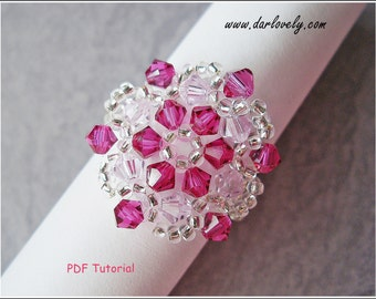 Beaded Ring Pattern Tutorial - Pink Ruby Star Ring (RG108) - Beading Jewelry PDF Tutorial (Digital Download)