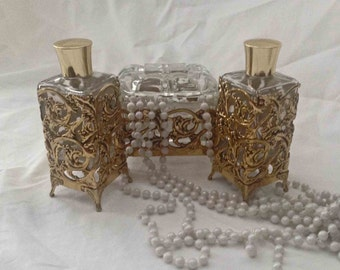 3 Pc Brass Vanity Set, MINT Condition, 2 Perfume Bottle, Jewelry/Trinket Box, Ormolu Set
