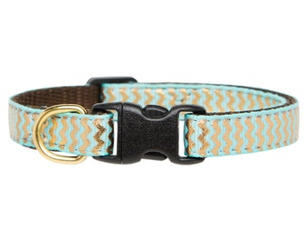 "Cat Collar - ""The Glam-o-rama"" - Teal with Metallic Gold Chevron Print"