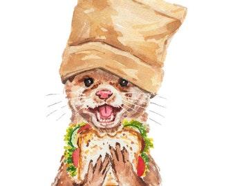 Otter Watercolor PRINT - 11x14 Painting Print, Kitchen Art, Food Watercolour, Cute Animal, Nursery Art