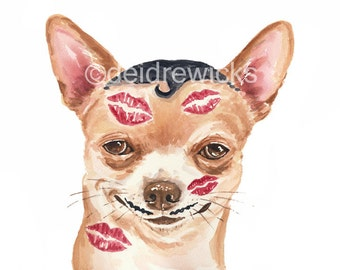 Dog Watercolor PRINT - Chihuahua Illustration Painting, 8x10 PRINT, Romance, Love
