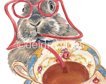 Rabbit Watercolor PRINT - Teacup Watercolour Print, Kitchen Art, 8x10 Print, Bunny Rabbit