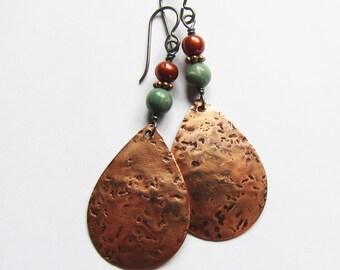 Copper teardrop earrings Bohemian artisan jewelry Boho niobium dangle earrings Beaded green, russet copper earrings