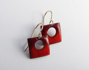Petite red enamel earrings Small square enameled drops Colorful contemporary jewelry Gold wires Tiny dainty red dangles