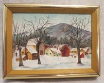 "Winter scape oil painting 5""X7"" by Wanda Riveire"