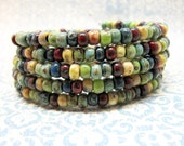 Colorful Rainbow Memory Wire Bracelet, Green, Red, Turquoise, Navy Blue, and Yellow Beaded Memory Wire Bracelet, Bohemian Wrap