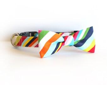 LASTONE! Market St Stripe, Dog Bow tie Collar, cat bow tie collar, pet collar, dog houndstooth collar, houndstooth bow tie, bowtie for dog