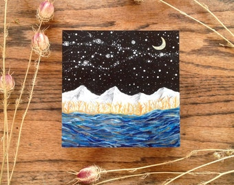 MADE TO ORDER // milky way galaxy and the crescent moon // Original Painting by Elise Mahan