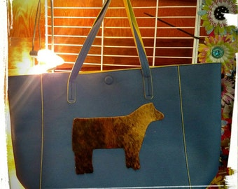 Blue and yellow leather purse/tote with cowhide heifer