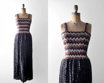 1970's disco dress. 70's sequin dress. black. bodycon. long. metallic. 70 striped dress. small.