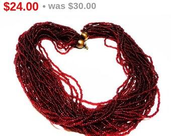 Red Wine Necklace - Multi Strand Seed Beads - Vintage Retro Jewelry - 1980's Sautoir