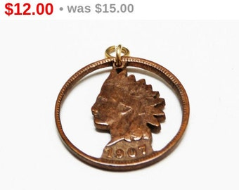 Indian Head Penny Charm - 1907 Penny Charm - Vintage Copper Charm Cut Out Charm for Bracelet