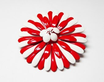 Red and White Enamel Brooch - Mod Flower Power Pin - 1960s Round Daisy Flowers - Mid Century Jewelry