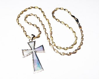 Sterling Silver Cross Pendant - Inset Mother of Pearl - Christian Religious Ruffled Edge Cross w Twisted Chain - Vintage 1990's