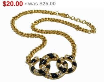 Conjoined Circles Pendant & Chain Necklace - Modernist Retro Rhinestone Design - Vintage Jewellery