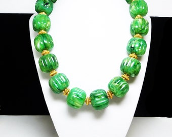 Big Chunky Green Bead Necklace - Retro Choker with Lucite Green Apple Beads - Beaded with Goldtone Spacer Beads
