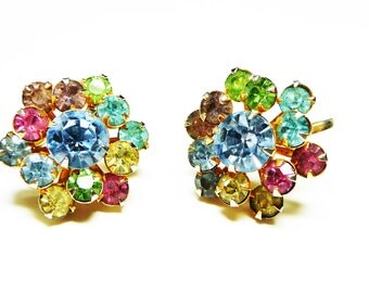 Pastel Rhinestone Earrings - Screwbacks with Pink, Blue, Yellow and Green Rhinestones - Mid Century 1950's - 1960's