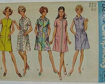 Vintage 60's Misses' Dress, House Dress, Simplicity 8285 Sewing Pattern UNCUT Size 12