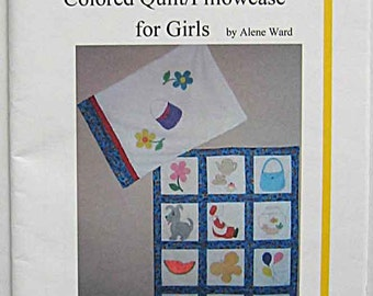 "Children's ""I'm Bored!"" Coloring Quilt and Pillowcase Pattern for Girls by Alene Ward, Wall Hanging, DA2119G, Fishbowl, Balloons, Hat, Purse"