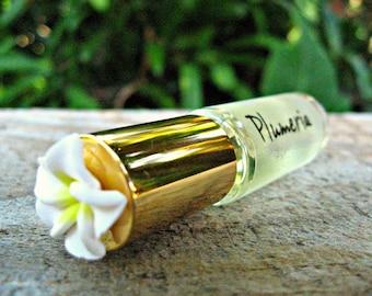 PLUMERIA MINI PERFUME. Custom-Blended Roll-on Perfume. Made in Hawaii. 1/6 fl oz (5 ml).