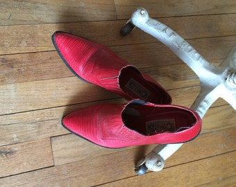 Red Leather Ankle Boots Circle S Brand Funky RED Leather Short Cowboy Boots Ladies Size 7.5 M Made in Brazil Faux Snake Skin Look in RED