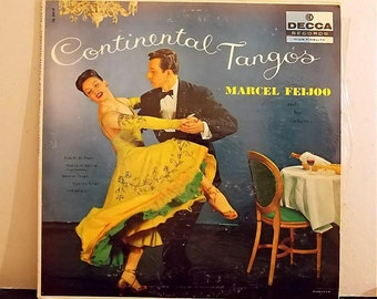 Vintage Vinyl Record, Continental Tangos Marcel Feijoo Decca Records DL8434 Released in 1950's