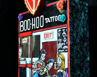 Mexican Folk Art Diorama, Boo-Hoo Tattoo Shop, after Patrick Murillo