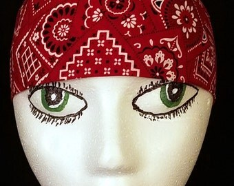 Red Bandana Skull Cap, Chemo Cap, Hat, Surgical Cap, Do Rag, Hair Loss, Bald, Helmet Liner, Head Wrap, Motorcycle, Handmade, Alopecia