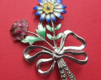 Sterling Enamel Vintage Flower Bouquet Brooch Pin