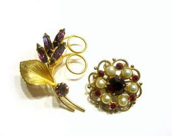 Purple Red Brooch Lot of 2 Pins Rhinestone Vintage Jewelry