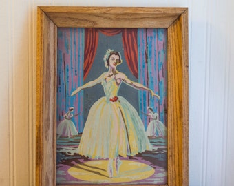 Vintage Ballerina Painting, Framed Paint By Number Ballet Art
