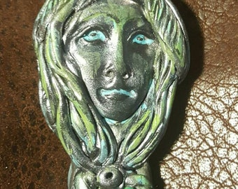 One of a kind Hand Sculpted Wild Woman Turquoise Goddess  NecklaceThe Sacred Divine Feminine