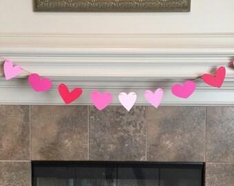 Heart Garland, Valentines Day Decor, Valentines Day Banner, Valentine Mantle Decor, Pink and Red Hearts, Heart Banner